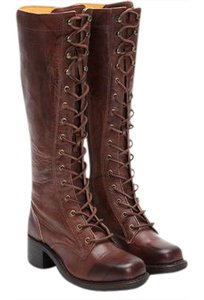 Frye Tall Lace Up Campus Lug Saddle Leather Walnut Boots