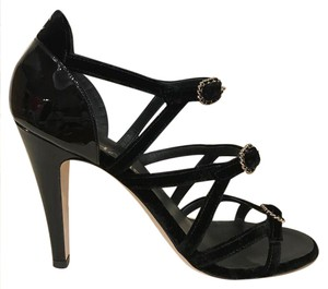 Chanel Velvet Stiletto Patent Chain Strappy black Pumps