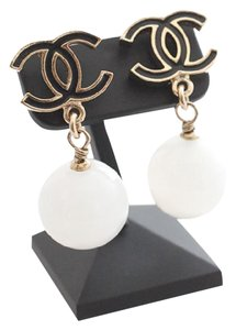 Chanel Chanel Authentic Black CC Pearl Drop Earrings