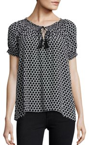 Joie Silk Print Ruffle Top Black, White