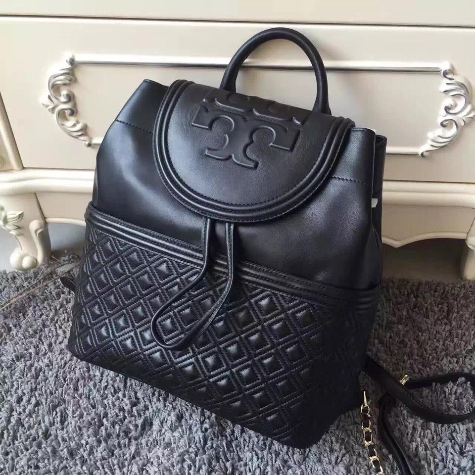 7b07be58384 Tory Burch Fleming Quilted Lambskin Black Leather Backpack - Tradesy