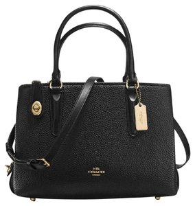 Coach Red Leather Brooklyn Satchel in Black / light gold