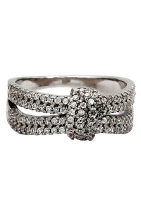 Ocean Fashion Sparkling crystal knot silver ring