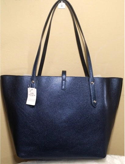 010d672a5520 Coach Market Pebble Gold 55528 37756 Metallic Blue Leather Tote ...