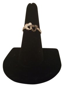 Other ** NWT ** 14K WHITE GOLD DOUBLE HEART DIAMOND RING
