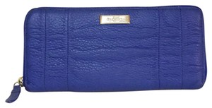 Cole Haan cobalt blue pleated zip around long wallet leather