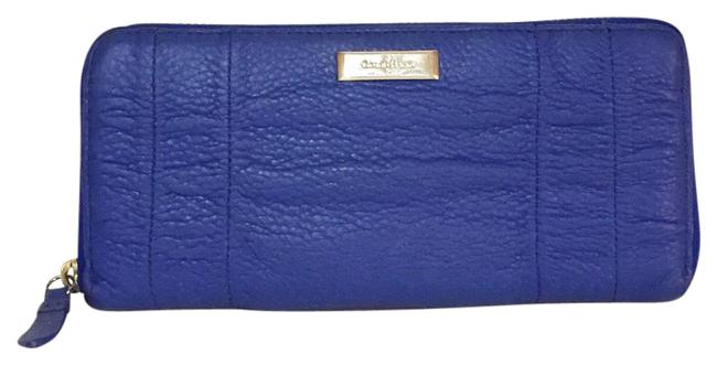 Item - Blue Long Cobalt Pleated Zip Around Leather Wallet