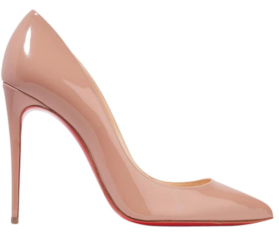 Christian Louboutin Beige Patent Last Nude Pair - Pigalle Follies Nude Last Leather 100mm Pumps 064aac