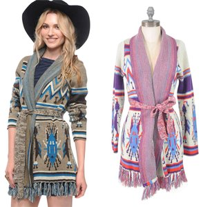 Heritage 1981 Belted Sweater Belted Aztec Bohemian Tribal Cardigan