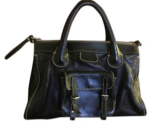 Chloé Edith Leather Vintage Day Casual Date Night Satchel in Black