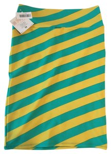 LuLaRoe Skirt yellow and teal striped