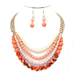 Other Coral Pearl Multilayer Necklace Bib Collar and Earring