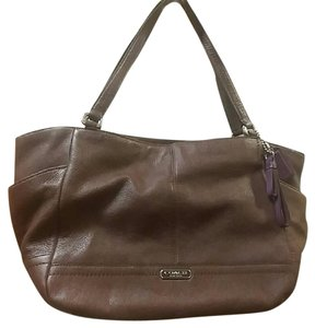 Coach Park Leather Carrie Tote in Fig Brown