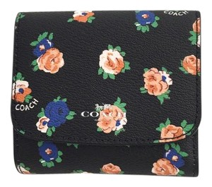 Coach Coach Signature Flori Leather Small Trifold Wallet F57976 New $135