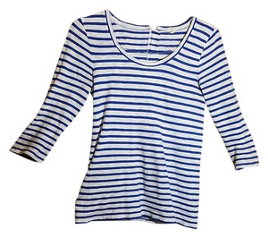 J.Crew Striped Zipper Blue And White Extra Small T Shirt blue/white