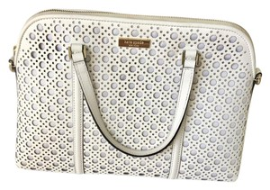 Kate Spade Leather Perforated Gold Accents Satchel in White