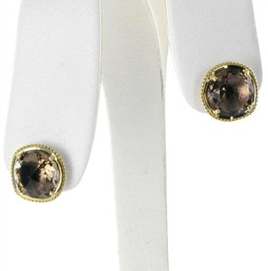 Tacori 18k925 Earrings Midnight Sun Studs Smokey Quartz 18k Yellow Gold 925