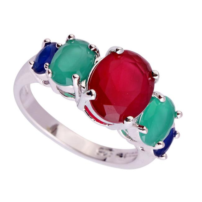 Item - Red Green Blue Stunning 5 Stone Neutral Ruby Emerald and Sapphire Size 7 Ring