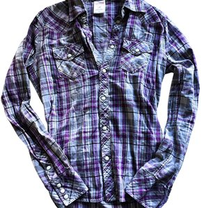 True Religion Button Down Shirt purple and white