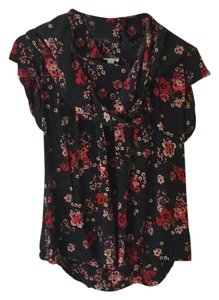 Odille Top forest green and floral