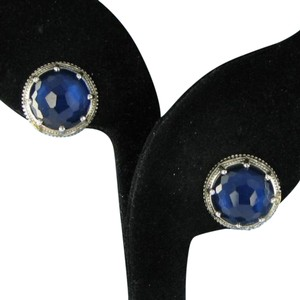 Tacori 18k925 City Lights Blue Quartz over Hematite Earrings Sterling Studs