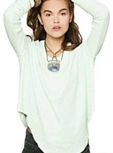 Free People Thermal Scoop Neck Cozy T Shirt Mint