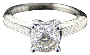 Other 14K WHITE GOLD ROUND CUT ENGAGEMENT BRIDAL WEDDING BAND RING .85 Ct