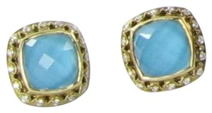 Tacori Barbados Stud Earrings 0.21cts Diamond Sterling Silver 18K Yellow Gold