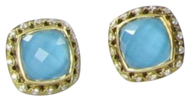 Item - Diamond Sterling Silver 18k Yellow Gold Neo Turquoise Quartz Barbados Stud 0.21cts Earrings