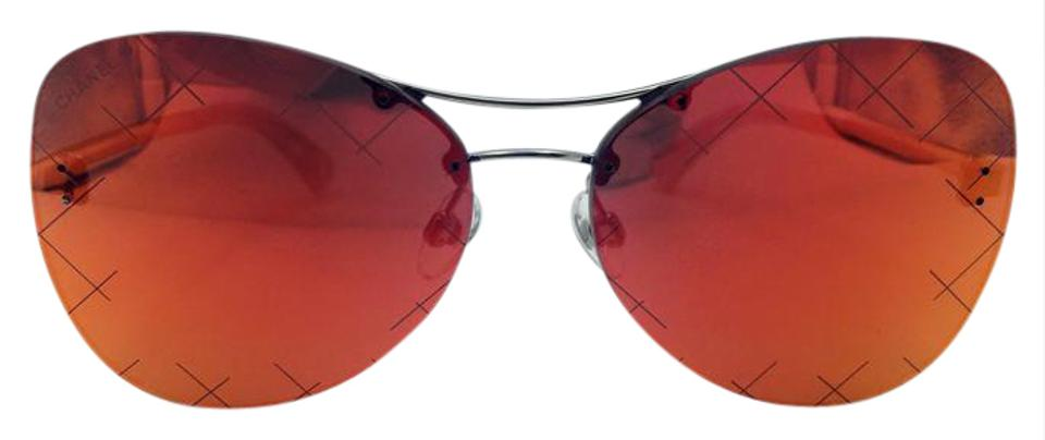 b6753c6ce96 Chanel Chanel Silver Red Mirror Quilting Pilot Sunglasses 4218 c.124 6Q 58  Image ...
