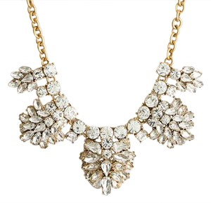 J.Crew NWT Beautiful Rhinestone And Gold Statement Necklace - Bridal Jewelry