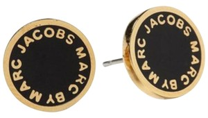 Marc by Marc Jacobs NWT- Authentic Marc by Marc Jacob Black Enamel Logo Disc Stud Earrings
