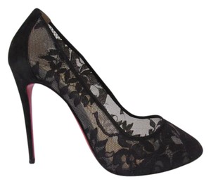 Christian Louboutin Evening Red Sole Rounded Toe Lace 100 Mm Black Pumps