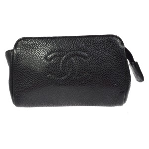 Chanel Chanel Black Leather Cosmetic Jewelry Pouch