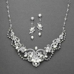 Mariell Silver Freshwater Pearl Crystal and Earrings Set 4061s Necklace
