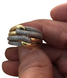 David Yurman Labyrinth Double-Loop Ring with Diamonds, Gold, SS