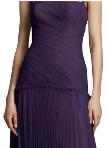 Vera Wang Amethyst Vw Halter Bobbin Net Drop Waist Pleated Skirt Dress Dress