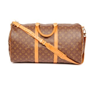 Louis Vuitton Keepall 50 Monogram Leather Duffle Brown Travel Bag