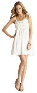 Mystree short dress Cream Anthropologie Ruched on Tradesy