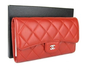 Chanel Chanel Matelasse Lambskin Trifold Long Wallet Red Leather w/Box