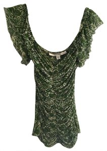 Diane von Furstenberg Top Green and White