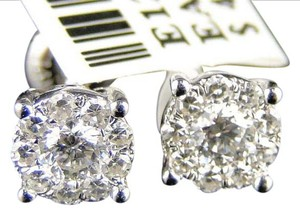 Other 14K WHITE GOLD ROUND CUT SOLITAIRE LOOK DIAMOND STUD EARRINGS 1/2 CT