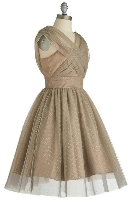 Preload https://img-static.tradesy.com/item/20870825/modcloth-gray-gold-bronze-retro-vintage-party-in-and-polkadot-mid-length-formal-dress-size-8-m-0-1-650-650.jpg