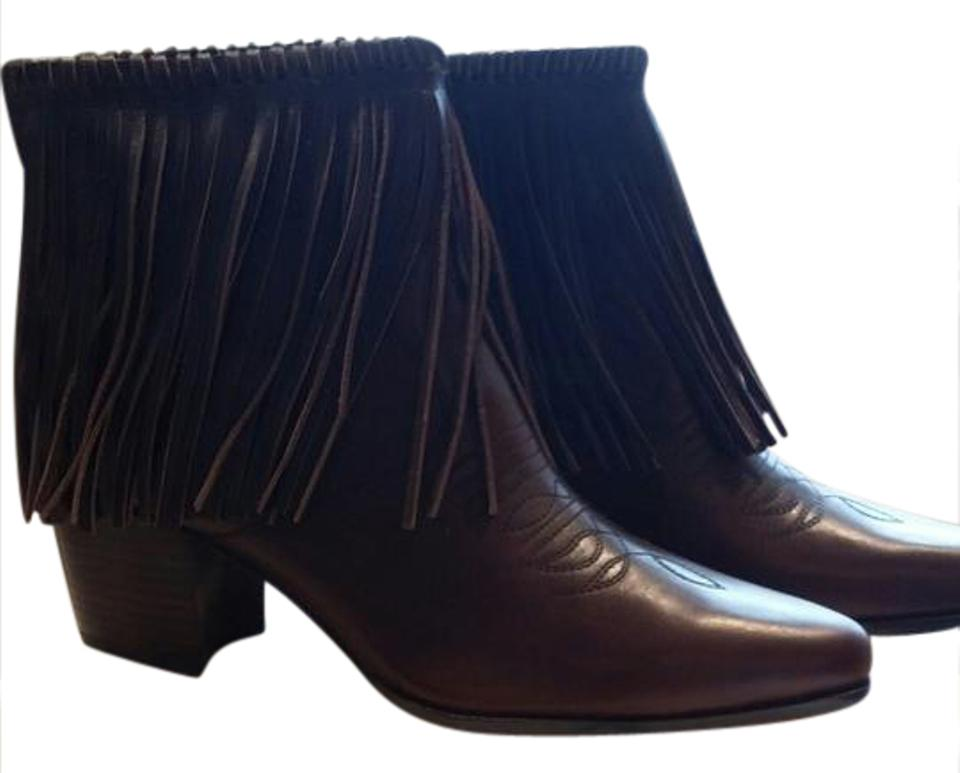 Bettye Muller Chocolate Brown Fringe Boots/Booties Boots/Booties Fringe 0d3e5b