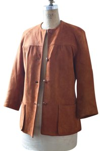 Adolfo Vintage Collectable Coat Rust Leather Jacket