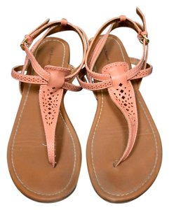G.H. Bass & Co. T Strap Leather Summer Flat Coral Sandals