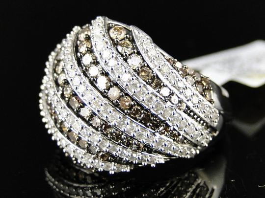 Other 10K WHITE GOLD BROWN 17 MM DIAMOND WEDDING BAND RING 1.40 CT Image 1