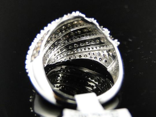 Other 10K WHITE GOLD BROWN 17 MM DIAMOND WEDDING BAND RING 1.40 CT Image 2