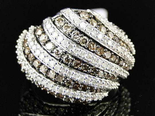 Other 10K WHITE GOLD BROWN 17 MM DIAMOND WEDDING BAND RING 1.40 CT Image 3