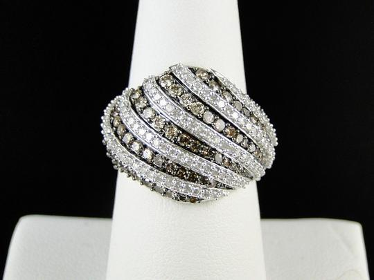Other 10K WHITE GOLD BROWN 17 MM DIAMOND WEDDING BAND RING 1.40 CT Image 5
